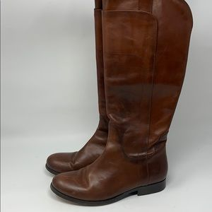 FRYE Melissa tall riding boot redwood leather